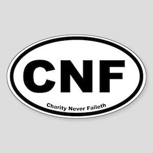 Charity Never Faileth Oval Sticker