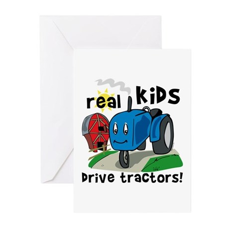 Real Kids Drive Tractors Greeting Cards (Pk of 20)
