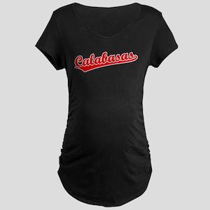 Retro Calabasas (Red) Maternity Dark T-Shirt