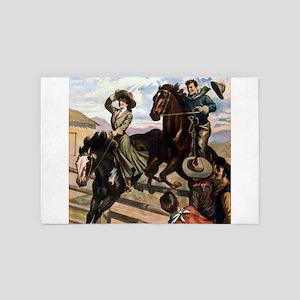 Equestrian Wild West Cowboy 4' x 6' Rug