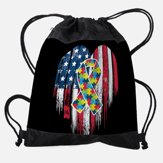 USA Autism Drawstring Bag