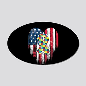 USA Autism 20x12 Oval Wall Decal