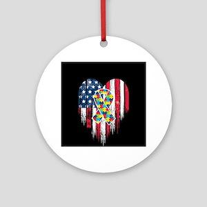 USA Autism Round Ornament