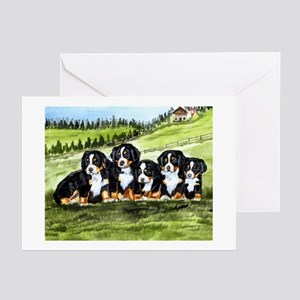 berner farm pups Greeting Cards