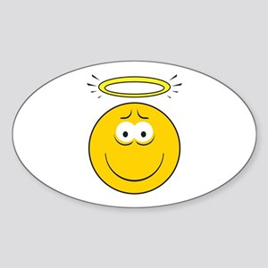 Angel Smiley Face Oval Sticker