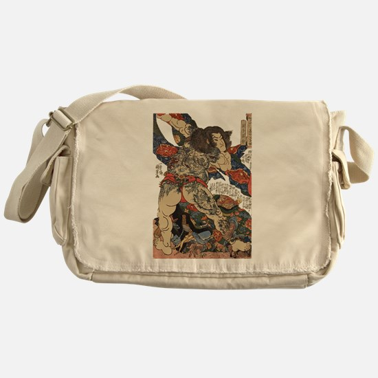 japanese tattoo warrior Samurai Messenger Bag