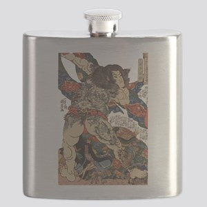 japanese tattoo warrior Samurai Flask