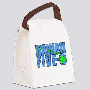 Hawaii Five-O Islands on White Canvas Lunch Bag