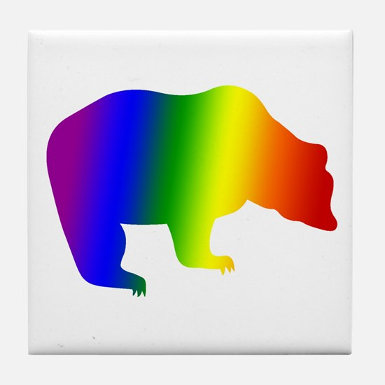 Rainbow Gay Pride Bear Tile Coaster