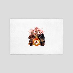 military soviet union propaganda 4' x 6' Rug