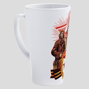 military soviet union propaganda 17 oz Latte Mug
