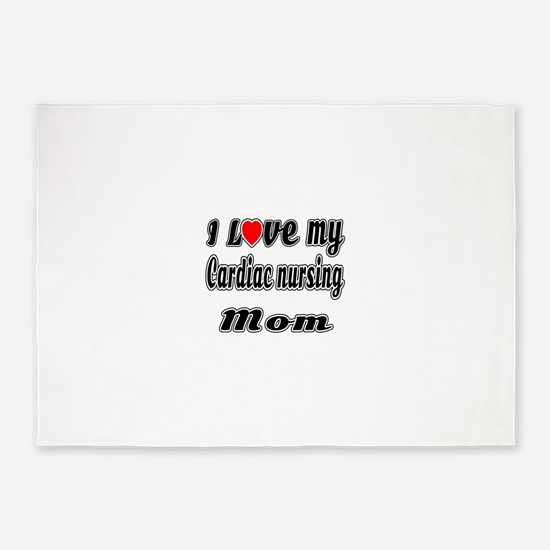 I Love My CARDIAC Nusing Mom 5'x7'Area Rug