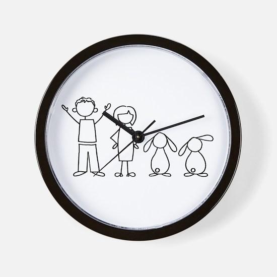2 lop bunnies family Wall Clock