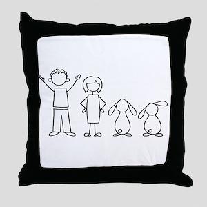 2 lop bunnies family Throw Pillow