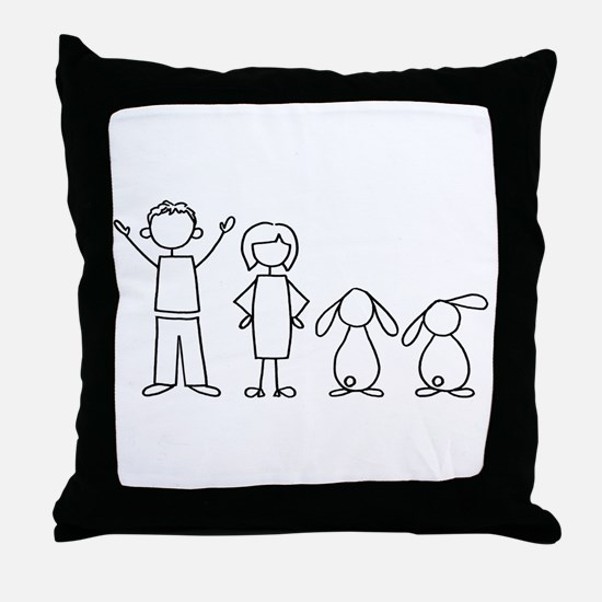 2 lop bunnies family Throw Pillow