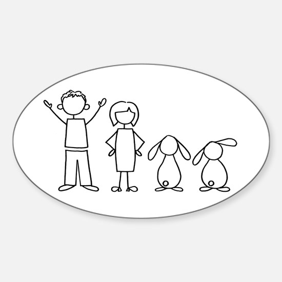 2 lop bunnies family Oval Decal