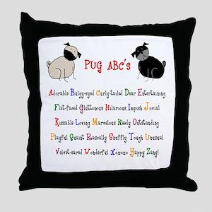 Pug ABC's Throw Pillow