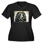 ...Dog 03... Women's Plus Size V-Neck Dark T-Shirt