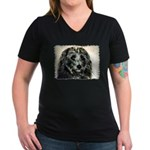 ...Dog 03... Women's V-Neck Dark T-Shirt