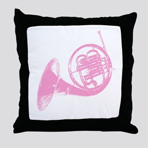 Pink French Horn Throw Pillow