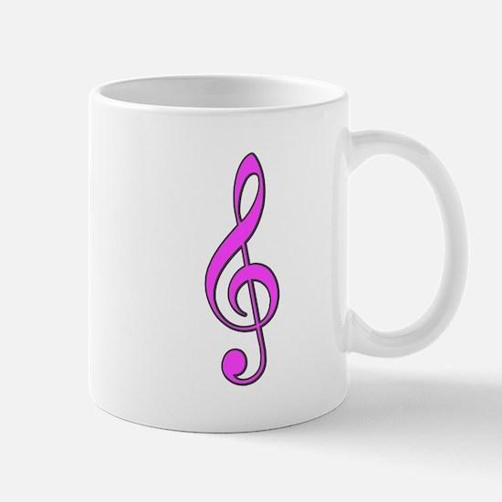 Retro Hot Pink Treble Clef Mug