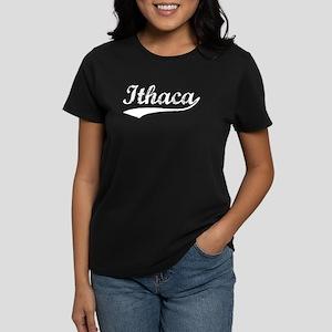 Vintage Ithaca (Silver) Women's Dark T-Shirt