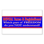 Repeal Taxes#1 Rectangle Sticker 50 pk)