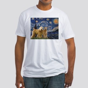 Starry Night & 2 Wheatens Fitted T-Shirt