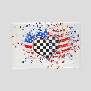 USA Flag Racing Rectangle Magnet