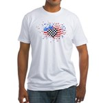 USA Flag Racing Fitted T-Shirt