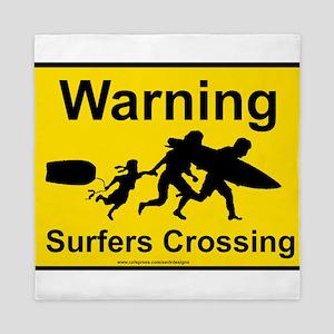 warning surfer crossing3 Queen Duvet