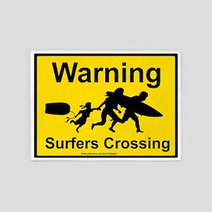 warning surfer crossing3 5'x7'Area Rug