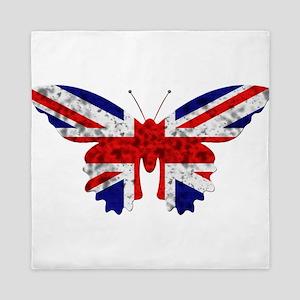 great britain butterfly flag Queen Duvet