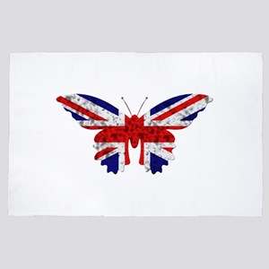 great britain butterfly flag 4' x 6' Rug
