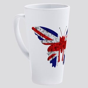 great britain butterfly flag 17 oz Latte Mug
