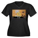 Massage Room Women's Plus Size V-Neck Dark T-Shirt
