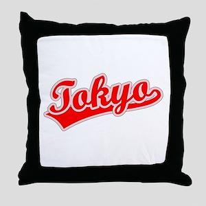 Retro Tokyo (Red) Throw Pillow
