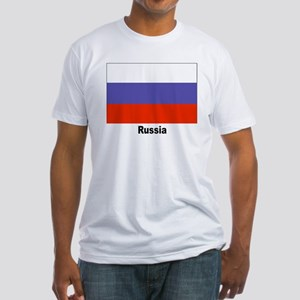 Russia Russian Flag (Front) Fitted T-Shirt