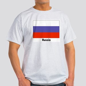 Russia Russian Flag (Front) Ash Grey T-Shirt