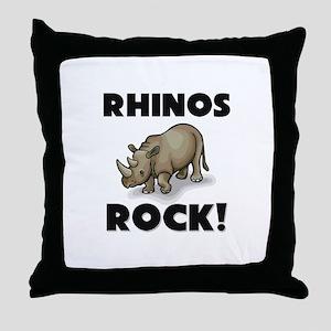 Rhinos Rock! Throw Pillow