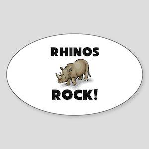 Rhinos Rock! Oval Sticker