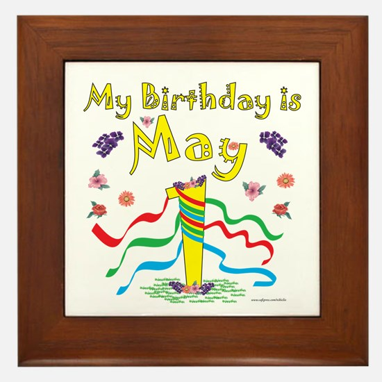 May Day May 1st Birthday Framed Tile