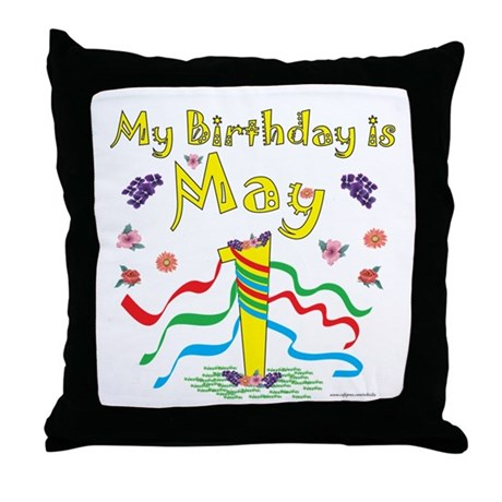 May Day May 1st Birthday Throw Pillow