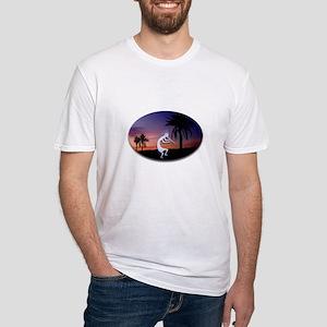 Kokopelli Sunset Oval Fitted T-Shirt