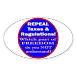 Repeal Taxes #3c Oval Sticker (50 pk)