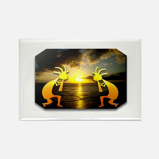 Two Kokopelli Sunset Rectangle Magnet (10 pack)