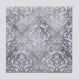 DAMASK1 WHITE MARBLE & SILVER PAINT Tile Coaster