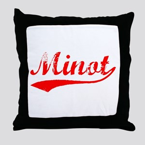 Vintage Minot (Red) Throw Pillow