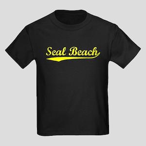 Vintage Seal Beach (Gold) Kids Dark T-Shirt