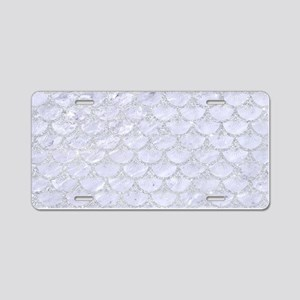 SCALES3 WHITE MARBLE & SILV Aluminum License Plate